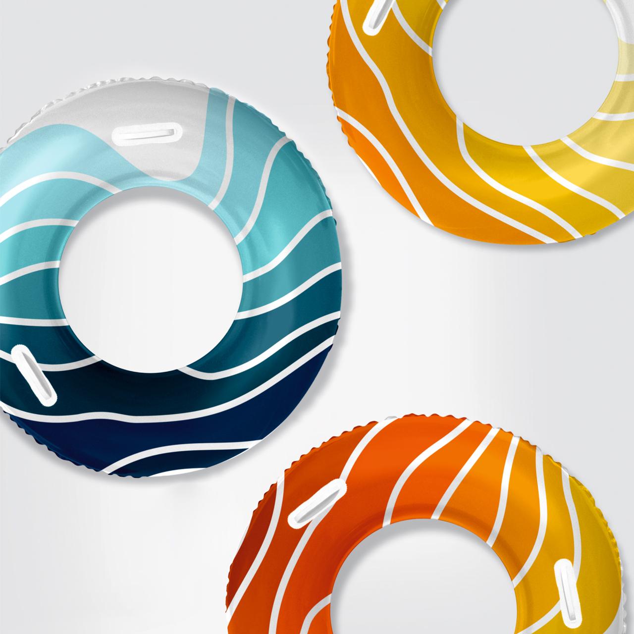Фирменный паттерн туристического бренда Геленджика на плавательных кругах