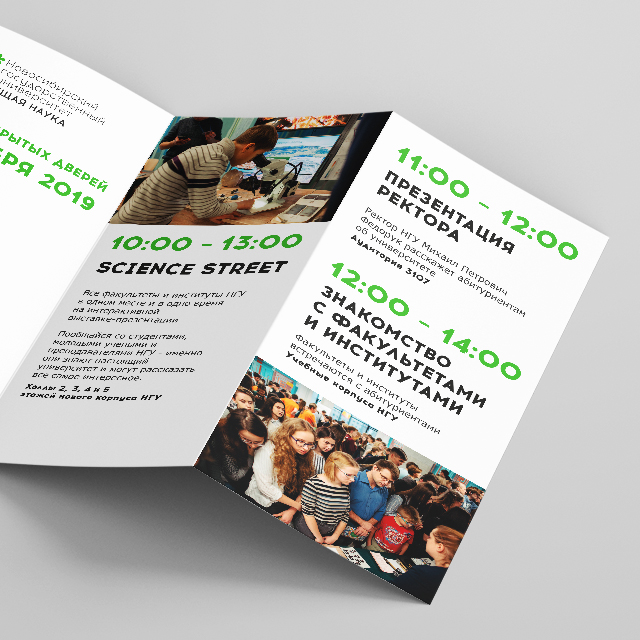 НГУ, фирменный стиль, на примере брошюры