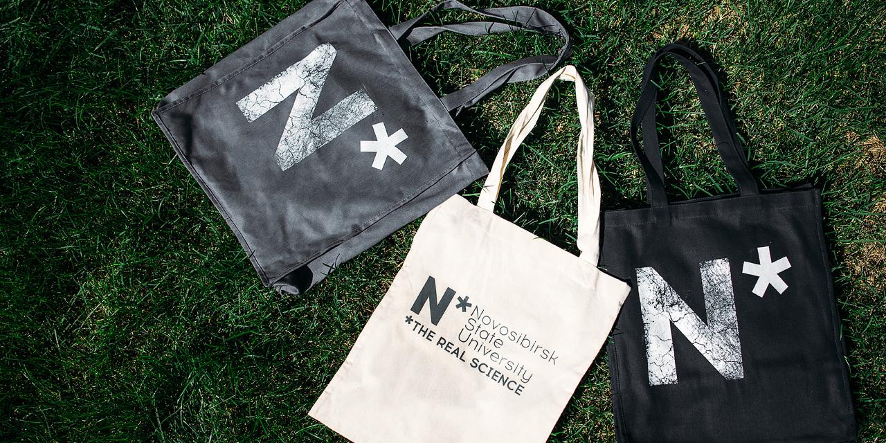 НГУ, логотип и фирменный стиль, на примере сувенирных сумок
