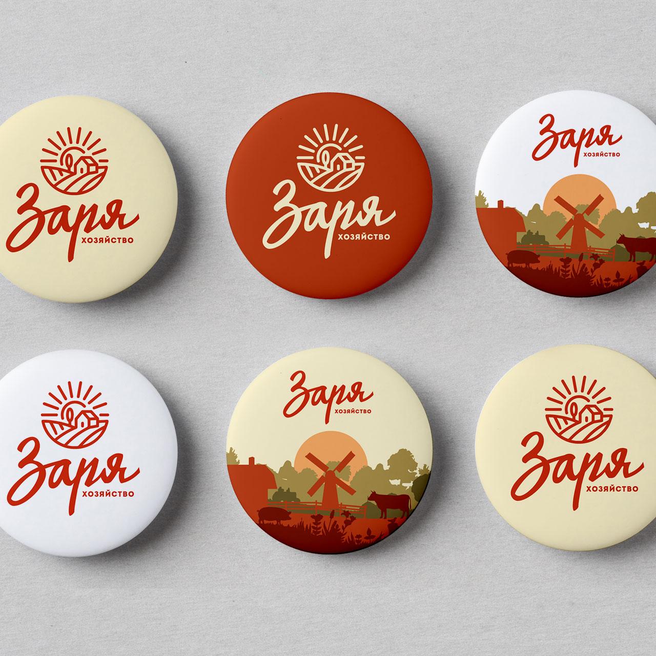 Визуальная среда бренда Заря на сувенирных значках